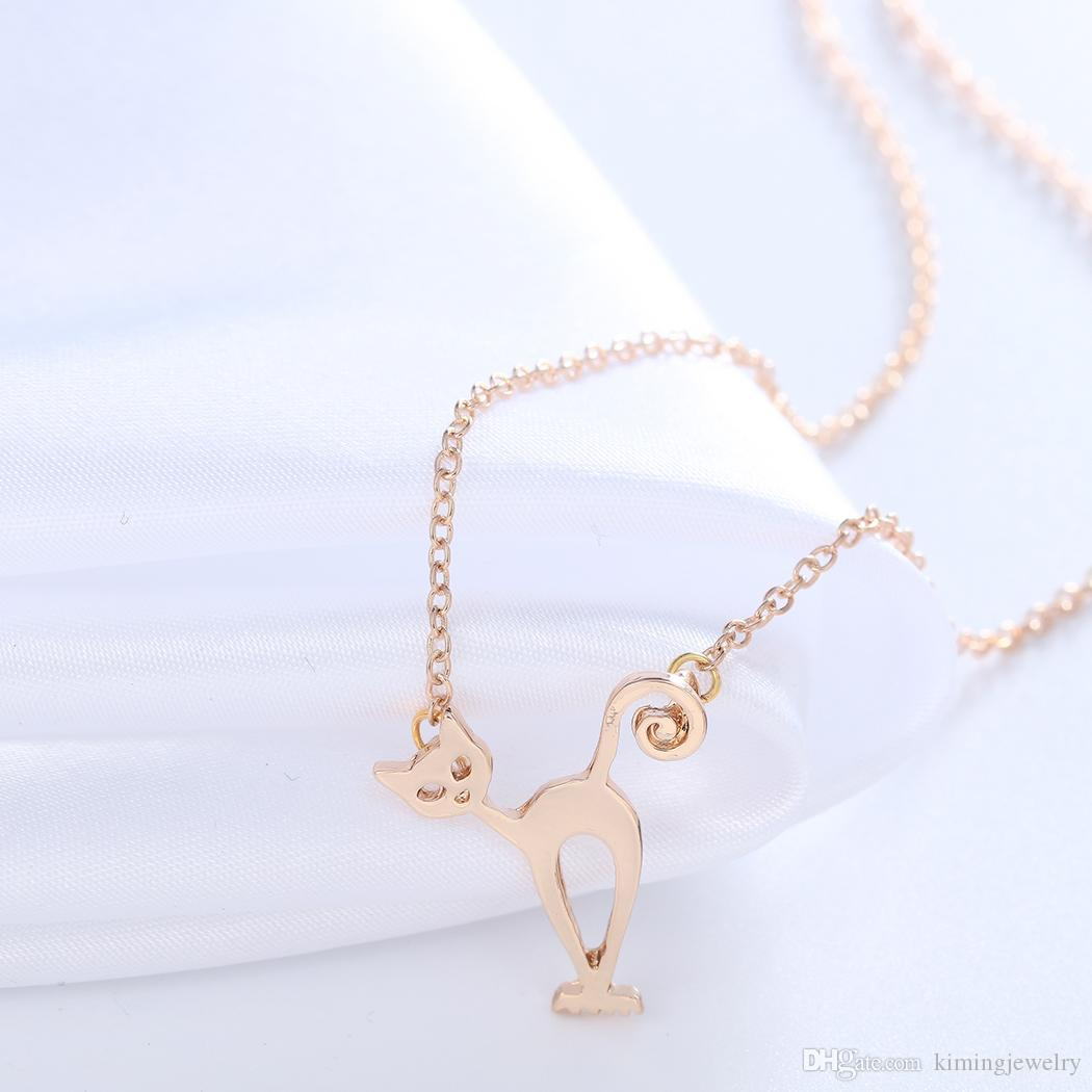 Tiny Cute Cats Pendant Animal Kitty Chain Necklaces Jewelry Lovers Gift for Women Girl Personalized Vintage Accessories