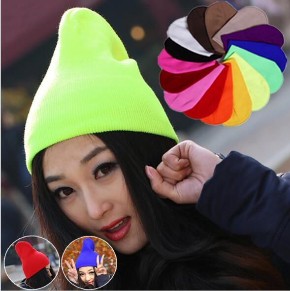 Knitted Neon Women Beanie Girls Autumn Fluorescent Casual Lovers Cap Women Warm Winter Hat for Unisex Men Warm Winter Personality Candy Hats