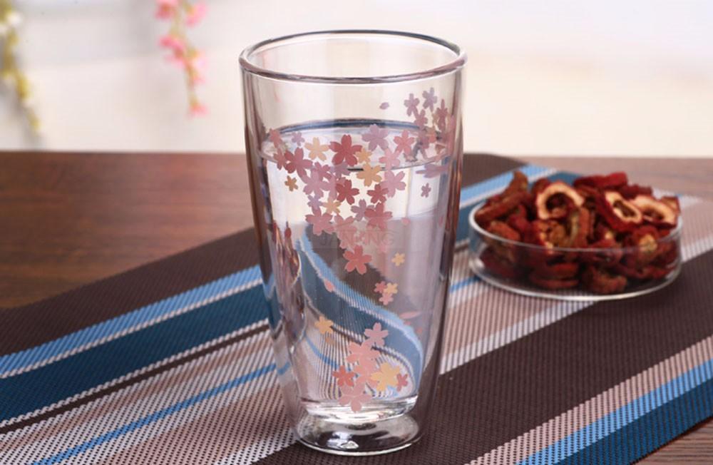 JANKNG 1 Stücke Unzerbrechliche Silikon Blume Klar Tasse Rotwein Doppelwand Glas Tasse Glas Bar Reise Flasche Mädchen Geschenk