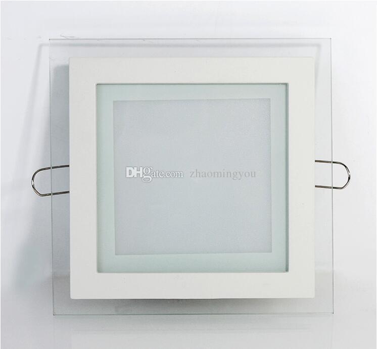 6W 12W 18W Dimmable LED lumière du panneau de verre carré conduit encastrés plafond éclairage encastré Lampes à puce Episar SMD5730 AC85-265V