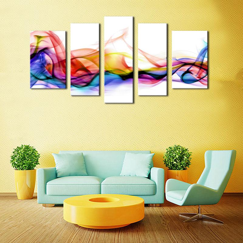 2018 Amosi Art 5 Panel Wall Art Fresh Look Color Abstract Smoke ...