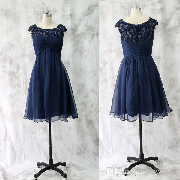 navy blue chiffon short dress