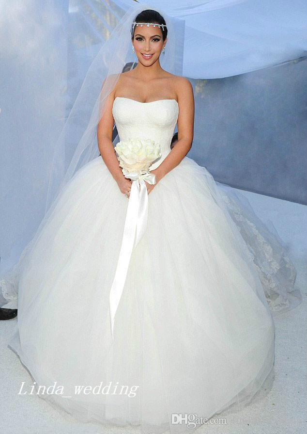Kim Kardashian Wedding Dresses Puffy Ball Gown Strapless Tulle Long Dream Princess Celebrity Wedding Formal Bridal Party Gowns