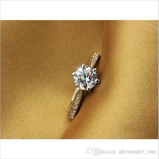 새로운 최고 품질의 도매 100 % 리얼 순수 925 스털링 실버 여섯 발톱 지르콘 우아한 패션 여성 약혼 결혼 반지