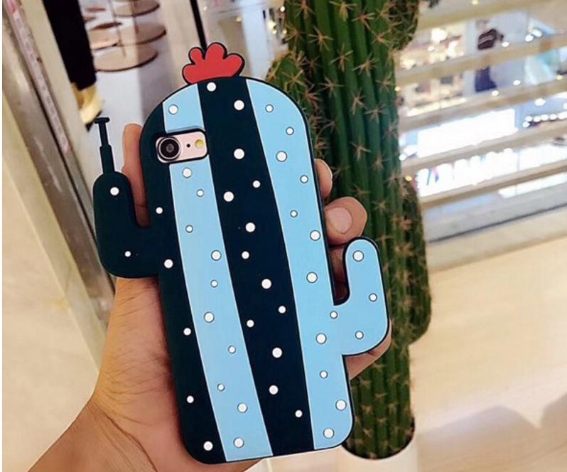 3D Robot Cactus Soft Rubber Case For iPhone 6 6s 6Plus 7 Plus Silicone Funny Back Cover Coque Capa Cute Robot Cactus Case