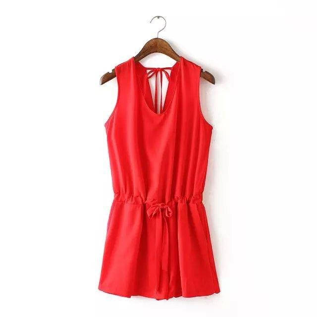 Women solid Vneck chiffon jumpsuits backless Rompers elastic waist casual overalls bodysuits red black KZ644