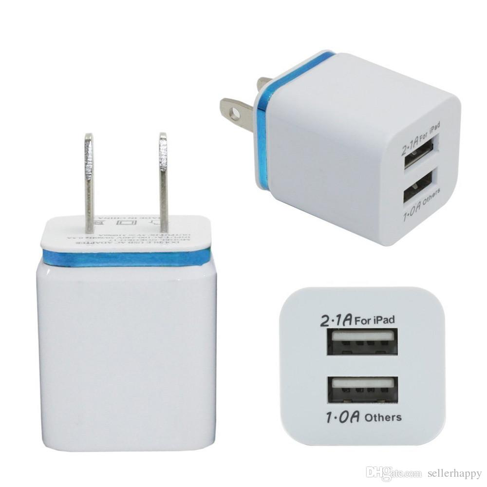 For Iphone 6/6s Dual USB Wall Charger Full 5V 2.1A 1A Travel Adapter US EU plug AC Power Adapter 2 port Colorful Wall Charger DHL