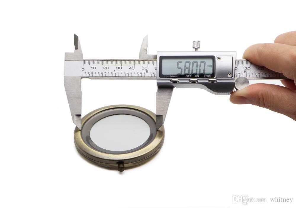 Blank Compact Mirror DIY Metal Pocket Cosmetic Portable Mirr0mm / 2.75Inch Bronze Färg # 18410-3 Gratis frakt