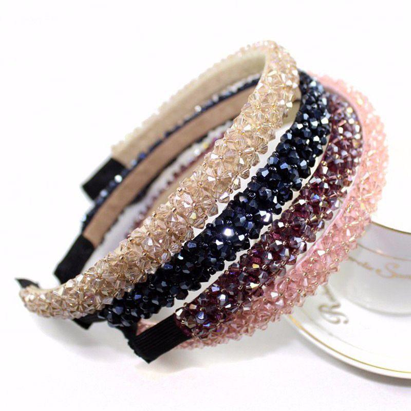 جديد متعدد الألوان كريستال زجاج عقال الأزياء اليدوية الشعر الفرقة للنساء بنات اكسسوارات للشعر هيرباند المجوهرات