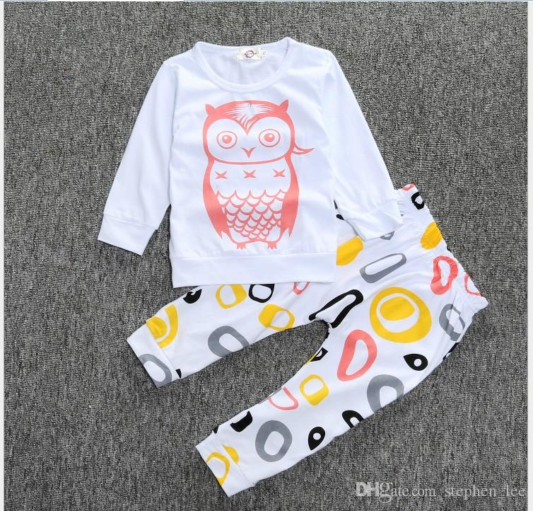 2016 New Children Clothing Sets Kids Cartoon Owl T-shirt Tops+Geometric Patterns Pants Set Baby Boys Girls Casual Outfits Child Suit