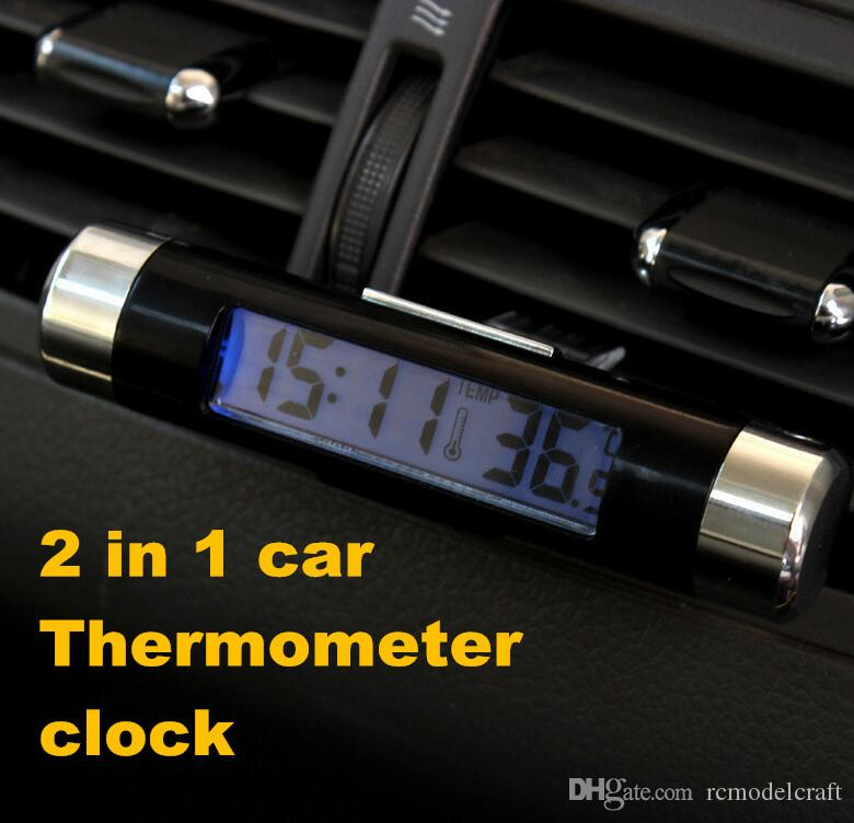 Car electronic watch auto clock temperature meter car thermometer luminous LED display Outlet clip-on