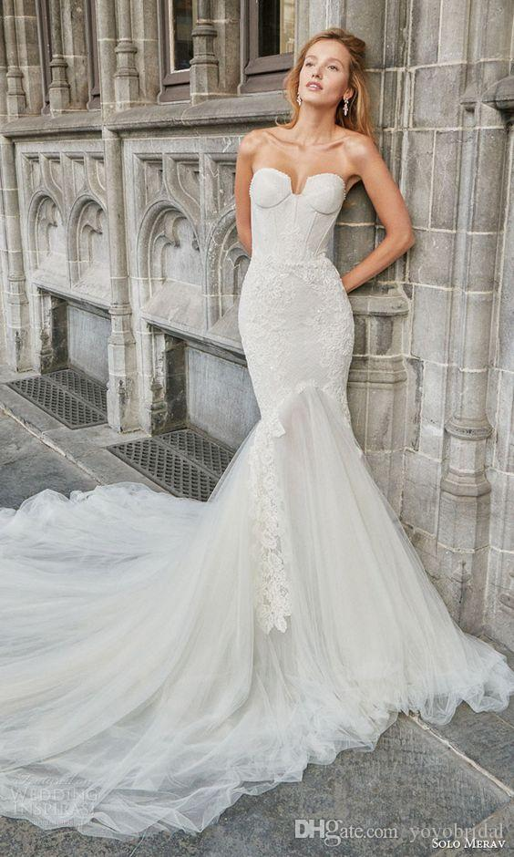 Stunning Mermaid Wedding Dress Cheap Tulle Pleated Lace Applique