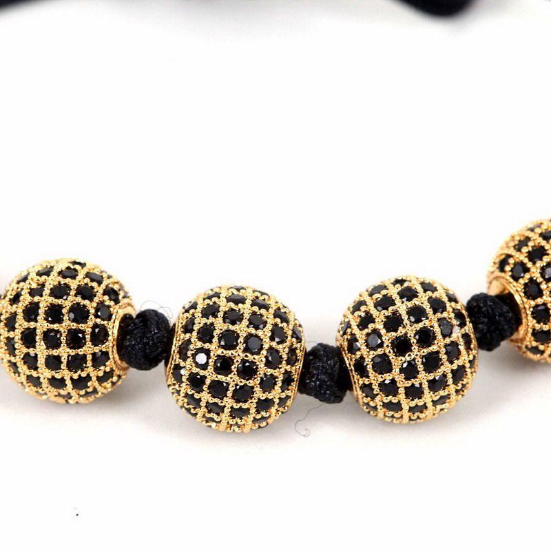 BC Herren Armband 24K Gold 8mm Runde Perlen 10mm Micro Pave Schwarz CZ Perlen Flechten Makramee Armband Fit Herren Vatertagsgeschenk BC-244
