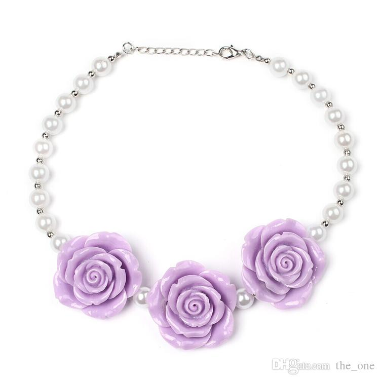 PrettyBaby Chunky Necklace kids princess pearl Necklace Acrylic rose flower necklace set women and girl Jewelry Photo Prop