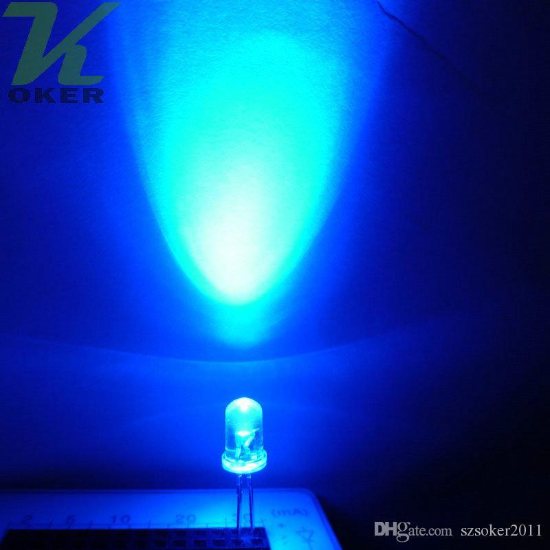 5mm Blue Round Water Water Clear LED Light Light Lampada Emissione diodo Ultra Bright Plug-in Plug-in DA TE Kit Pratica grandangolare