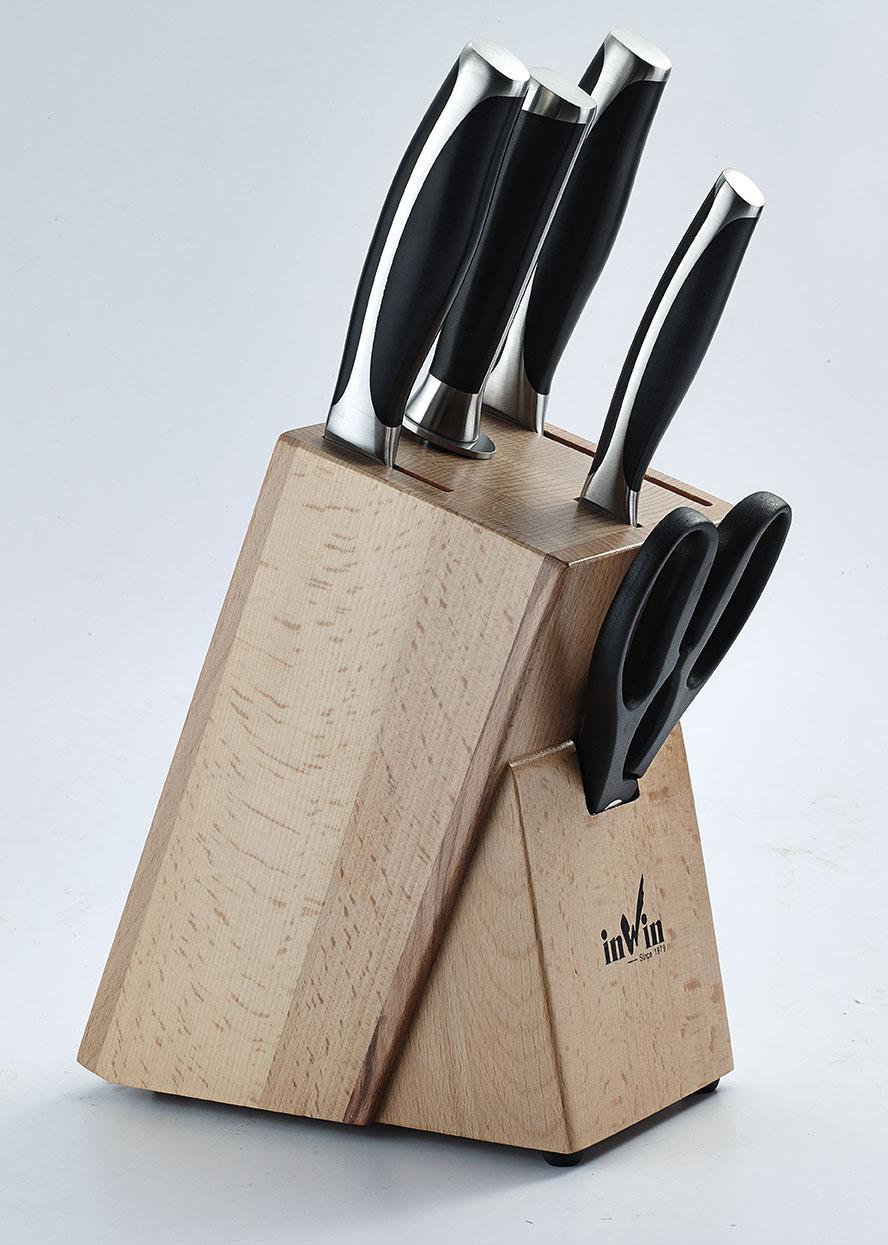 5Cr15MoV 스테인레스 스틸 주방 나이프 나무 나이프 블록 세트