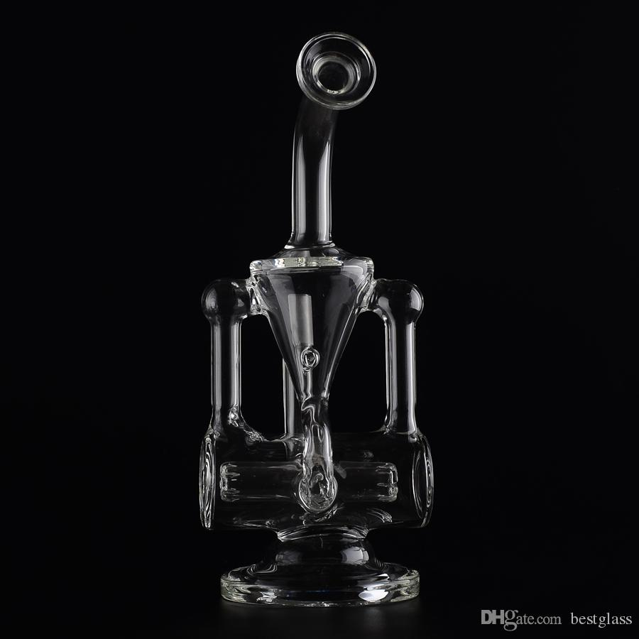 G24 Two Founction Double Recycler Glass Bongs Water Pipes Head Scientific With Dome and Nail Works Well H=220mm Bestglass