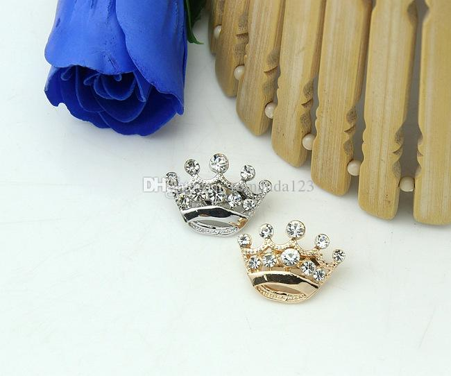 Hot Selling Silver Tone Clear Crystal Small Crown Pin Brooch Very Cute Alloy Women Collar Pins Wedding Bridal Jewelry DHL