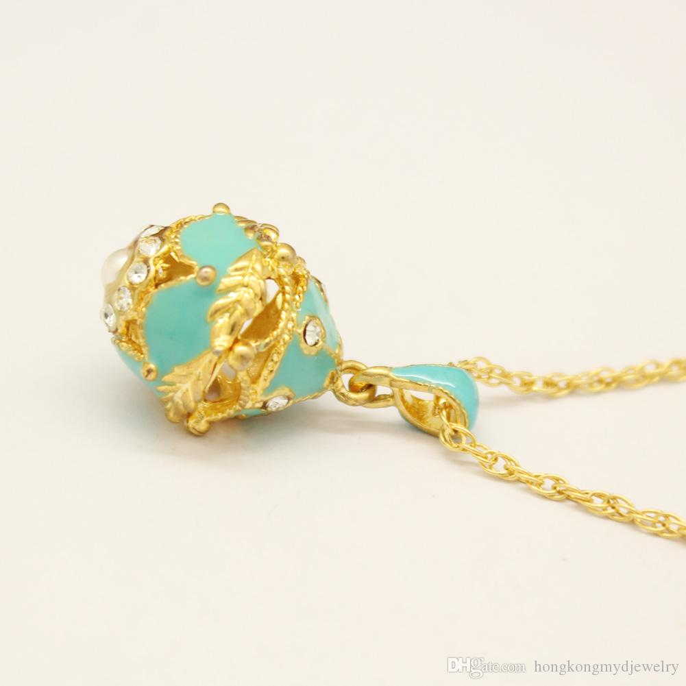 Handcrafted Enamel Russian Egg Charms for Faberge Style Egg with Gold Plated Necklace for European Fashion Pendant