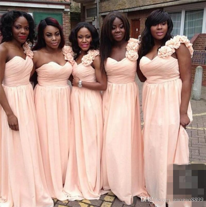 240c6e78f2d5 African Black Girl Bridesmaid Dresses A Line One Shoulder With Hand Made  Flowers 2017 Sexy Sweep Train Party Wedding Guest Dress Bridesmaids  Bridesmaid ...