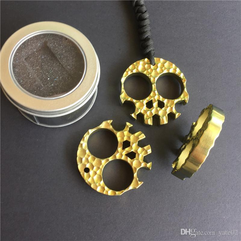 Golden skeleton titanium alloy bottle opener stamping dagger finger outdoor survival pocket EDC knucks Multi Tool self-defense