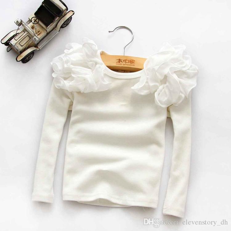 bebê Girls 2 a 6 anos de manga longa Primavera Queda T, partes superiores crianças de algodão, crianças boutique de outono t-shirt, R1ES12TS-78