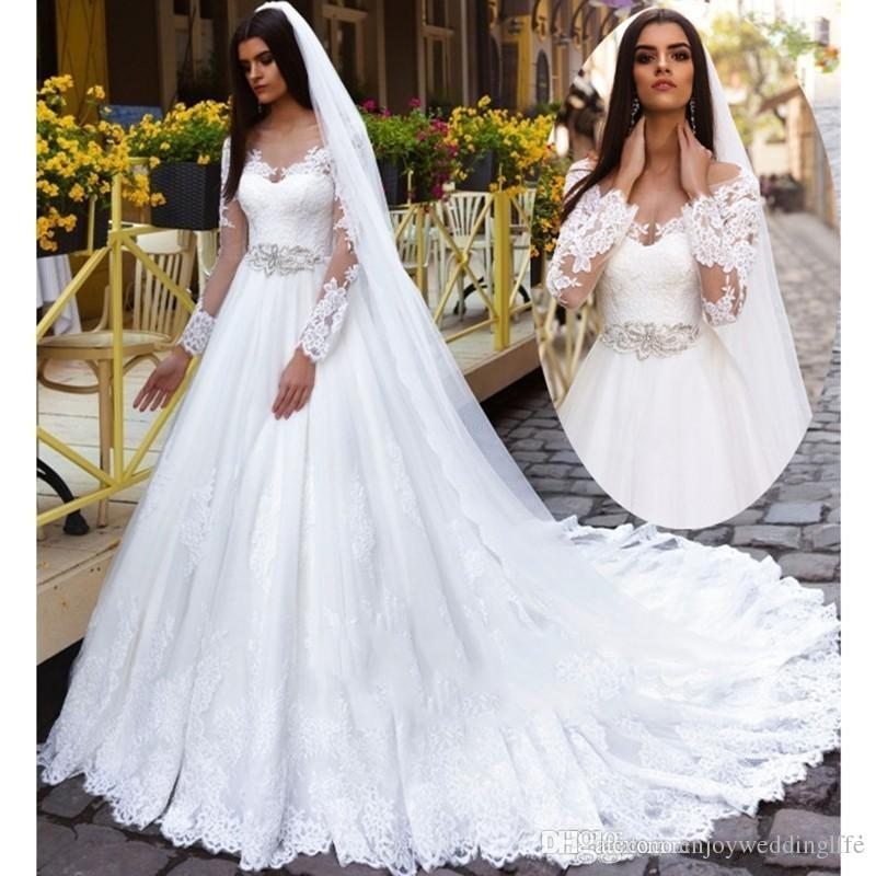 Discount Long Sleeve Lace Wedding Dresses 2017 New Simple: Discount A Line Wedding Dresses 2017 Scoop Long Sleeve