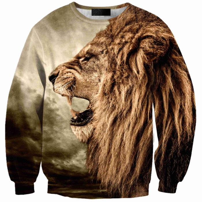 3D Mens Long Sleeve Sweater Printing Lion Head Tide Brand Men's Sweater