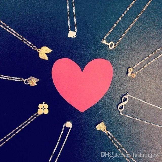 Cute Tiny Dogeared Necklace Elephant Wishbone Aangel Wing Pearl Love Heart Jewelry Punk Collar Bone Choker Necklaces Woman Birthday Gift