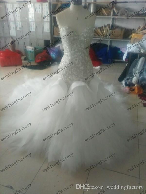 Роскошный реальный образ соборное свадебное платье без бретелек Милая русалка свадебные платья из жемчуга с бисером Изысканные аппликации Топ корсет