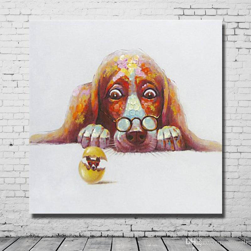 Hand painted canvas oil painting nice design wholesale funny animal dog picture no frame artwork painting