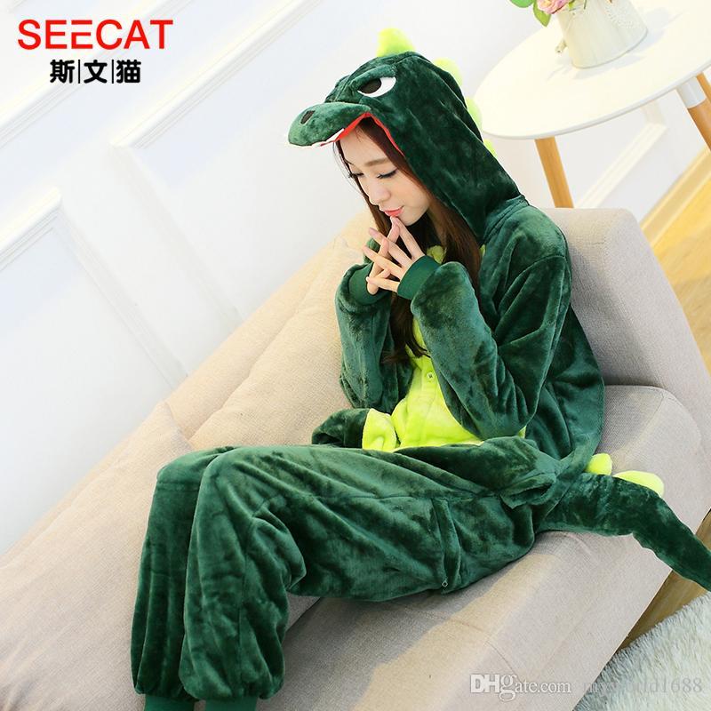 Yeni Sıcak Satış Güzel Ucuz Kigurumi Pijama Anime Cosplay Kostüm Unisex Yetişkin Onesie Yeşil Dinozor Elbise Pijama Cadılar Bayramı S M L XL