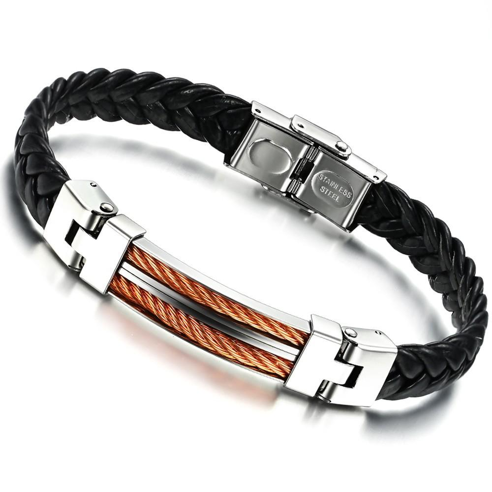 Top Quality New Arrival Male Jewelry Bangles Fashion Luxury Stainless Steel Gold  Bracelet Men Black Leather Friendship Bracelets Wristband