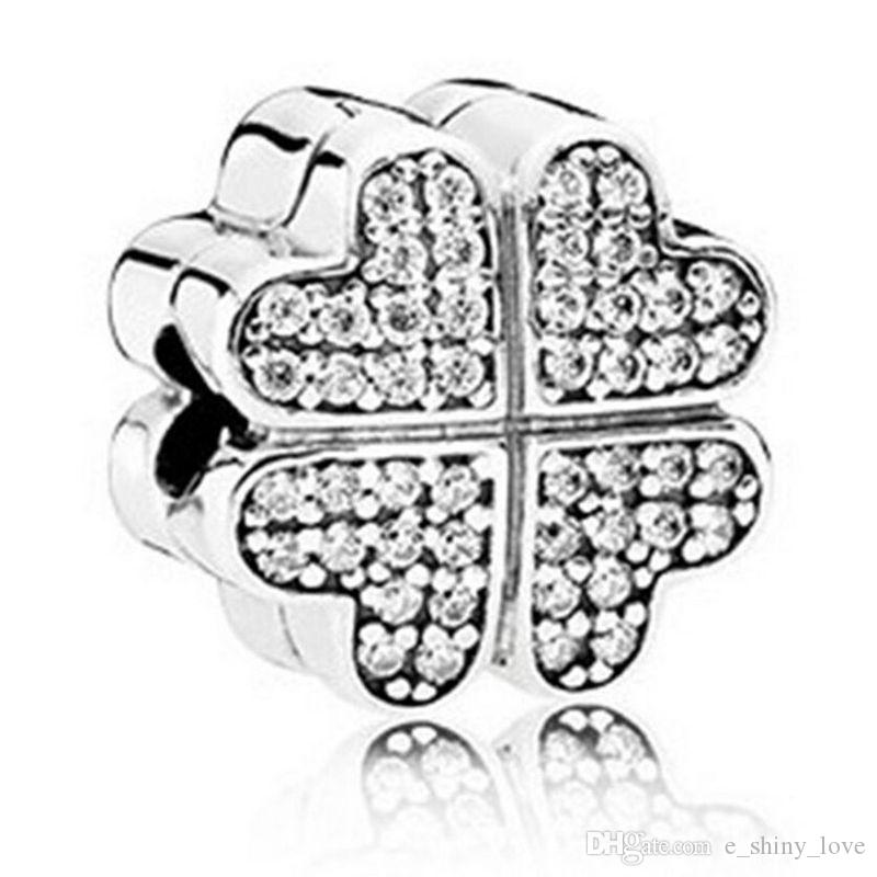 Real 100% 925 Sterling Silver Clover Clear Rhinestone Clip Charm Fit European Bracelet Authentic Luxury DIY Jewelry Gift