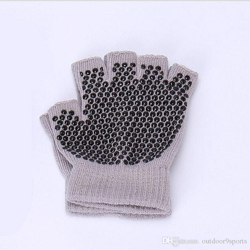 Cotton Yoga Sports Fingerless Gloves Women's Professional Anti-skid Fitness Gloves Ride Autumn Winter Warm Half Finger Exercise Gym Gloves