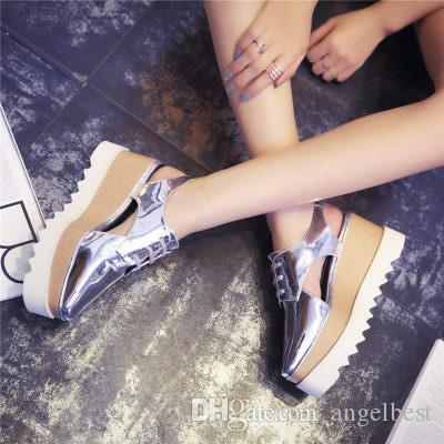 Rome Style 2016 Cutouts Platform Oxford Leather Sandals Shoes Lace-Up Thick Wedge Heel Square Toe Women's Sandals Shoes