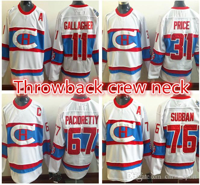 c2fc7e561 ... Montreal Canadiens Throwback Hockey Jersey Crew Neck Jersey 11 Brendan  Gallagher 67 Max Pacioretty 31 Carey ...