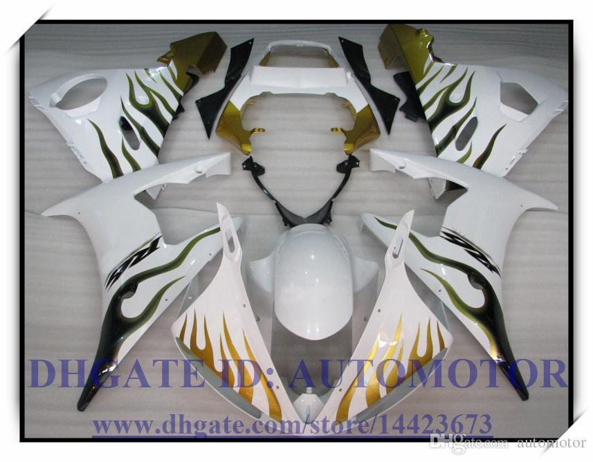 Injeção brand new carenagem kit 100% apto para YAMAHA YZF R6 2003-2005 2004 YZF R6 03 04 05 YZFR6 YZF600 2003-2005 2004 # RG578 COR BRANCO