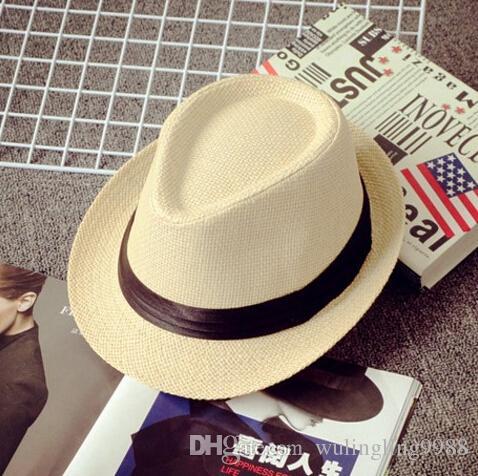 Heißer Verkauf Männer Frauen Hut Kinder Kinder Strohhüte Kappe Weiche Fedora Panama Gürtel Hüte Outdoor Geizig Krempe Kappen Frühling Sommer Strand hut