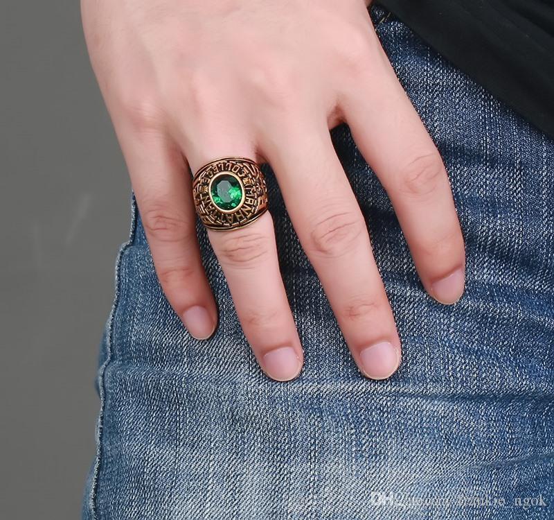 스테인레스 스틸 남성 펑크 반지 빈티지 보석 새겨진 기하학적 인 힙 스터 녹색 라인 석 높은 광택 액세서리 골드 크기 8-11