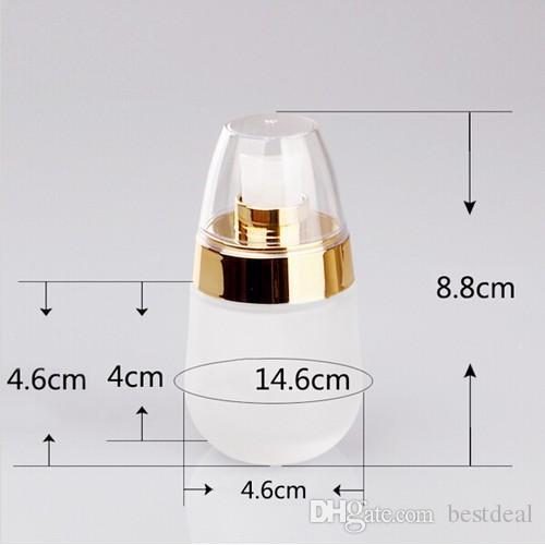 30ml glas kosmetiska flaskor tomma parfym ansikte lotion kräm mjölk smink push out dispenser flaska flytande dispenser återfyllningsbar hem doft
