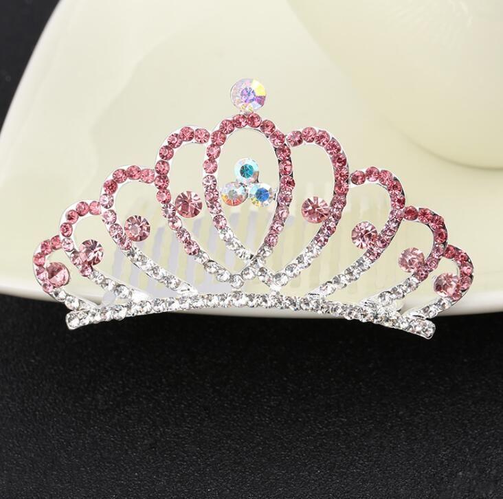 Bridal Wedding Crystal Rhinestone Hair Crown Combs Women Children Tiaras Hair Comb Headband Silver Pink Blue colors