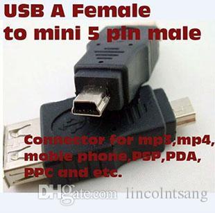 Оптовая 100 шт. / лот черный женский USB 2.0 a для мужчин Mini 5 pin B адаптер конвертер USB кабель для MP3 MP4
