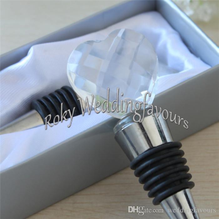 O ENVIO GRATUITO de Elegante Rolha De Vinho De Cristal Coração em Caixa de Prata Presentes Barware Bridal Shower Bomboniere Presentes do Partido de Noivado