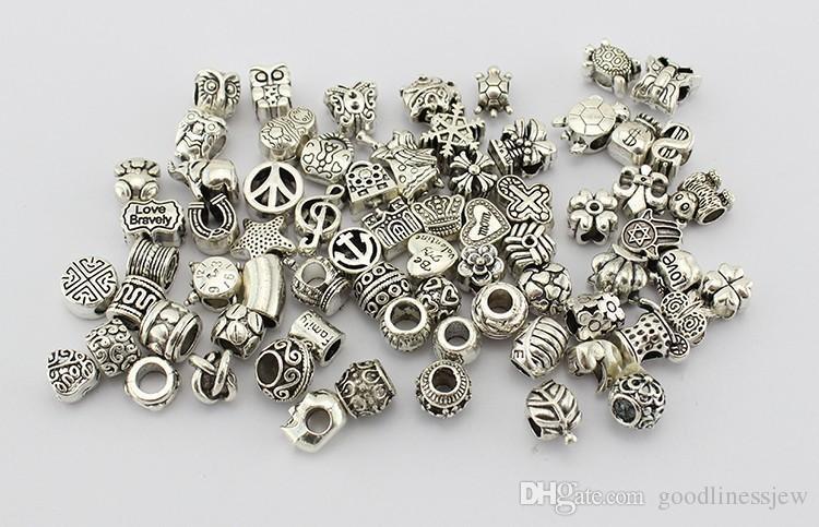 Antigua plateada aleación de aleación gran agujero encantos perlas espaciador en forma pandora pulsera bricolaje joyería collares colgantes encantos perlas