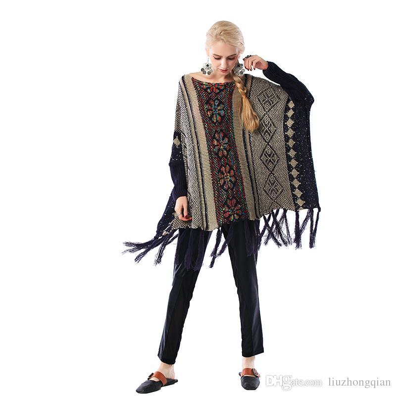Beauty Garden Women Pullover Brocade Sweater New Fashion Womanly Long-Sleeve Tassels Decoration Women Batwing-sleeve Women Sweater