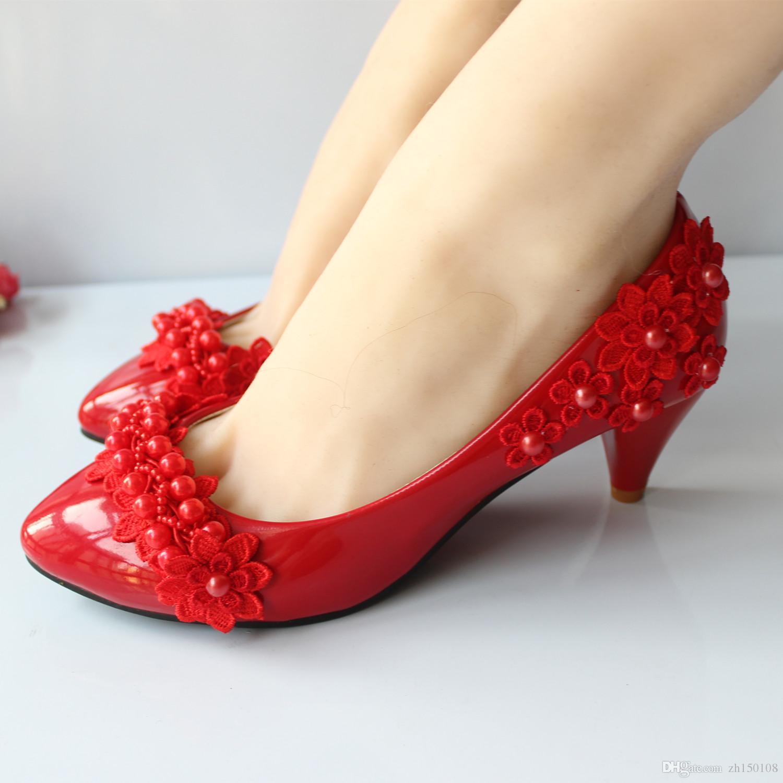 Nuevos zapatos de boda de encaje blanco cristal Zapatos nupciales bajo de tacón alto tamaño de la bomba 5-9.5