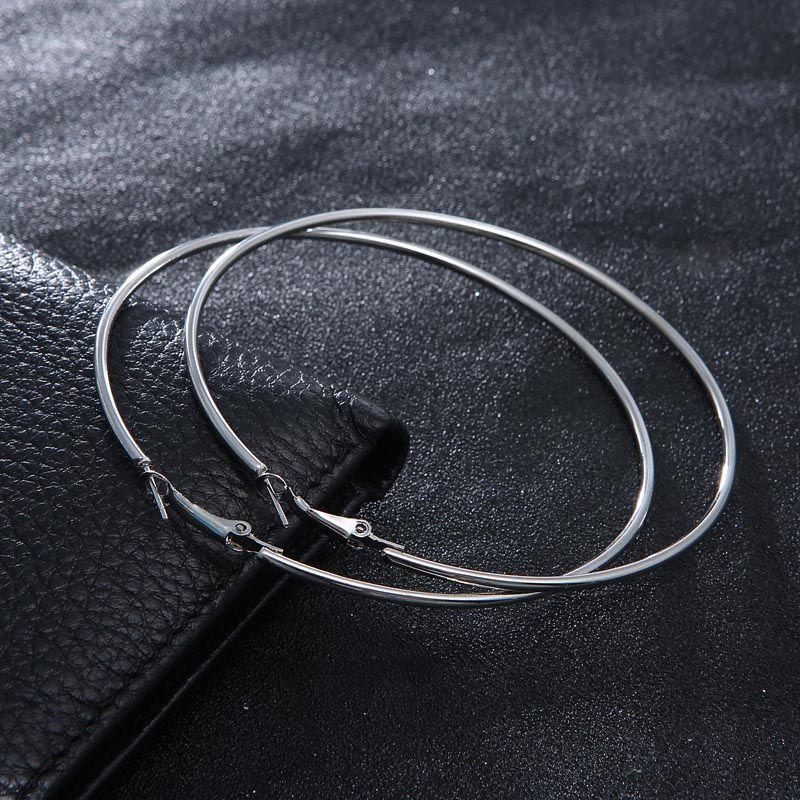 미국 유행 실버 골드 도금 큰 후프 귀걸이 여성을위한 고품질 보석 쥬얼리 귀걸이