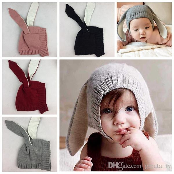 Winter Baby Rabbit Ears Knitted Hat Infant bunny Caps For Children 0-3T Girl Boy hats Photography Props