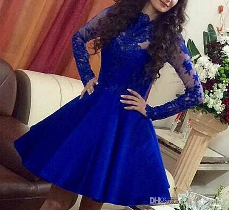 2018 Eleganti abiti da remi lunghi blu notte Abiti da cerimonia d'epoca brevi abiti da ballo adolescenti Abiti da cerimonia